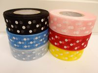 Baby light Pink and White polka dot / spotted organza ribbon 2 or 20 metres x 25mm